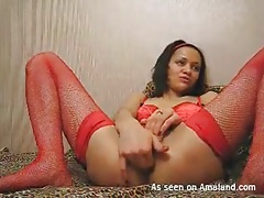 Finger fucking girlfriend in red lingerie tubes