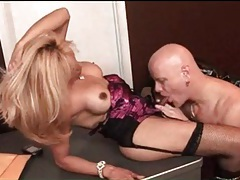 Sucking cock in office with beautiful blonde shemale tubes