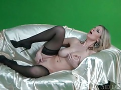 Big tits blonde fingers cunt on soft satin sheet tubes