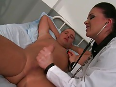 Doctor gives him handjob and sits on his face tubes