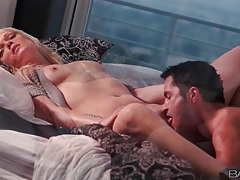 Blonde in unbuttoned cardigan licked by her man tubes
