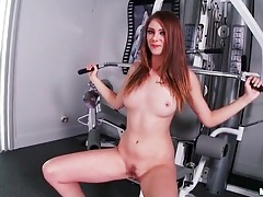 Girl takes a naked walk on the treadmill tubes