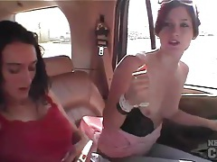 Frisky naked chicks in the car are hot tubes