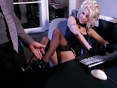 Secretary fantasy sex in stockings and a garter tube