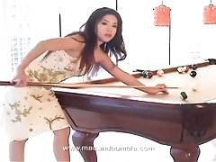 Asian on the pool table strips and poses tits tubes