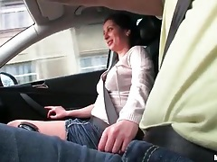 Handjob in the car from a big tits cutie tubes