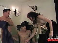 Stimulating oral sex in bisexual blowjob threesome tubes