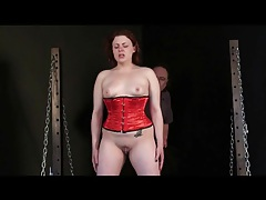 Through her torture session a girl cries quietly tubes