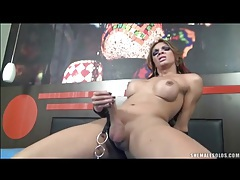 Shemale in boots has rock hard dick tubes