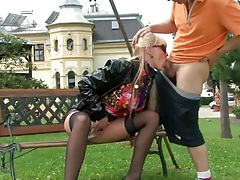 Girl gives good head to hard dick outdoors tubes