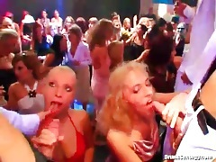 Horny girls convinced to suck cock at party tubes