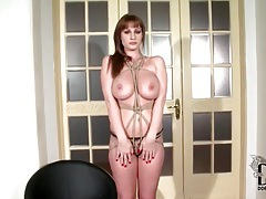 Beautiful big tits girl tied up and modeled tubes