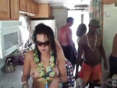 Boat babes drinking and smoking and look hot tubes
