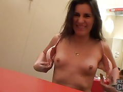 Self shooting girl shows tits in dressing room tubes