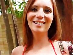 Masturbating her shaved vagina outdoors tubes