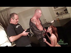 Redhead sucks dick and fucks in photo shoot tubes