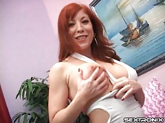 Redhead stripping from lingerie and stroking dick tubes