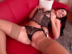 Delicate lingerie looks beautiful on brunette tubes