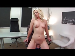 Dominant blonde girl sits on old man face tubes