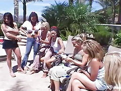 Lesbian orgy with wet girls in the pool tubes