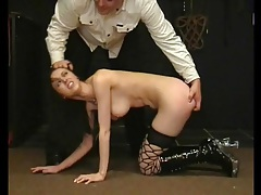Flogging and binding sexy girl in his dungeon tubes