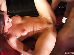 Girl swallows black dicks and they fuck her deep tubes