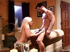 He bones hot blonde from behind and cums on her tubes