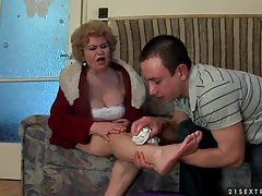 He helps an injured mature woman and licks her feet tubes