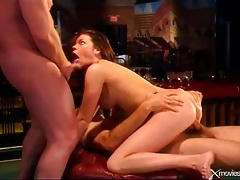 Three dicks fill her up and make her moan tubes
