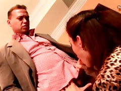 Girl in leopard print blouse sucks and fucks tubes