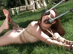 Tied girl sucking on dildos outdoors tubes