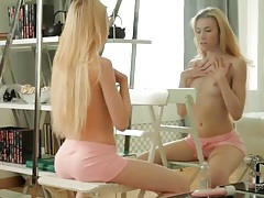 Erotic teen striptease in front of the mirror tubes