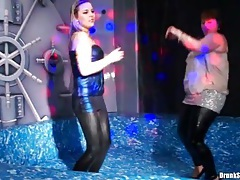 Curvy girls in wet look leggings dancing in club tubes