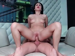 Shaved and slippery cunt on cock riding hottie tubes