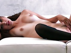 Sexy pussy rubbing with beauty in stockings tubes