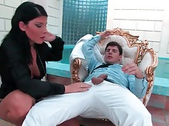 Chick in a blouse sucks and sits on his dick tubes