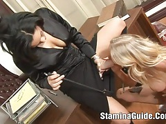 Horny blonde get double penetration tubes