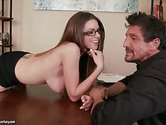 Secretary strips from sheer blouse and sucks cock tubes