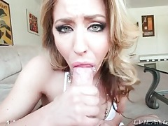 Blue eyed slut gives great blowjob in pov tubes