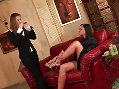 Lesbians kiss sensually and try the taste of pussy tubes