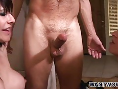Fucking a pair of naughty bitches in threesome tubes