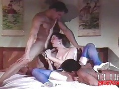 Black dick plows girl as white guy looks on tubes