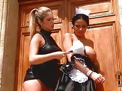 French maid spanked and licking wet pussy tubes