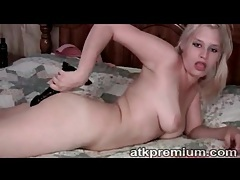 Blonde blows and rides black dildo lustily tubes