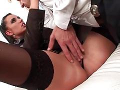 Skirt and stockings on a hot girl he licks tubes