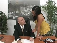 Young slutty secretary fucks old boss tubes