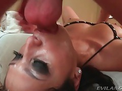 Dick down her throat as she pulls on balls tubes