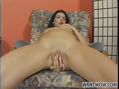 Hot brunette in panties rubs her pussy tubes
