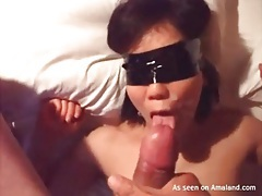 He cums on gf with taped up eyes tubes