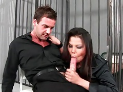 Ripped pantyhose and blouse on his cock rider tubes
